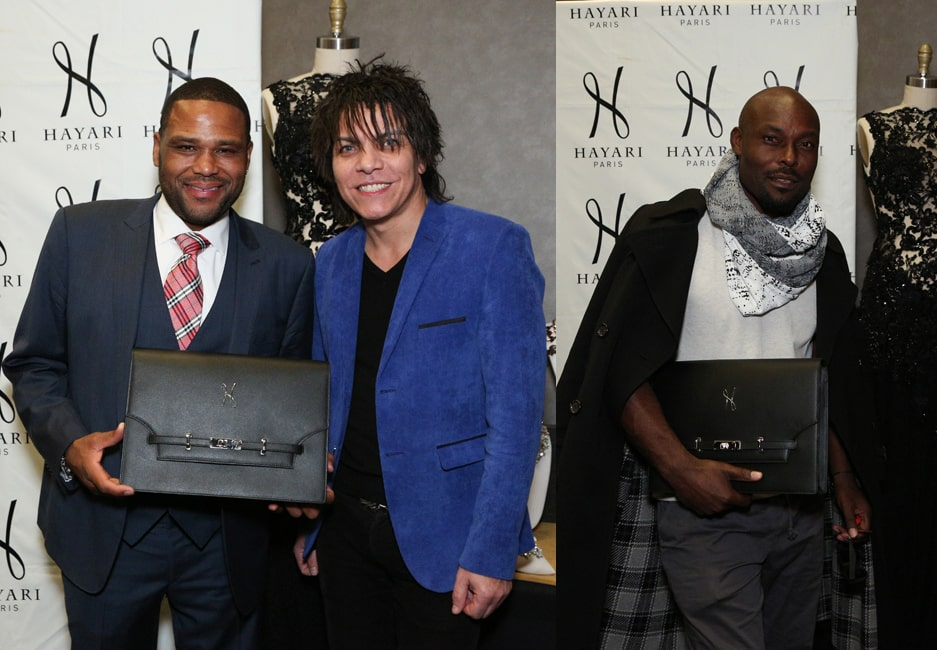 "Anthony Anderson currently in the TV Show ""Black-ish"" and Jimmy Jean-Louis who acts as Toussaint in the movie ""JOY"", here above with the clutch bag FeHOM and Nabil Hayari"