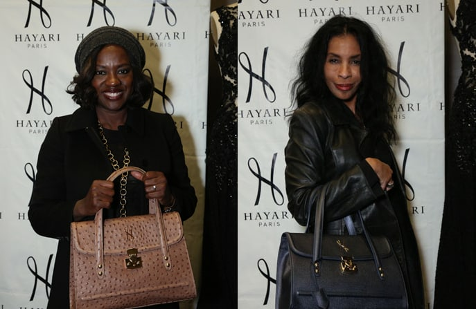 Viola Davis of the show « How to Get Away with Murder » and Khandi Alexander of the show « Scandal » with the Alisa handbag