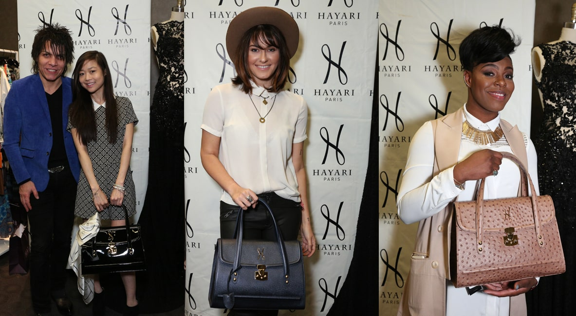 Krista Marie Yu of the TV Show « Dr Ken », Scout Taylor-Compton of « Nashville » and Ta'Rhonda Jones of « Empire » with the Alisa handbag
