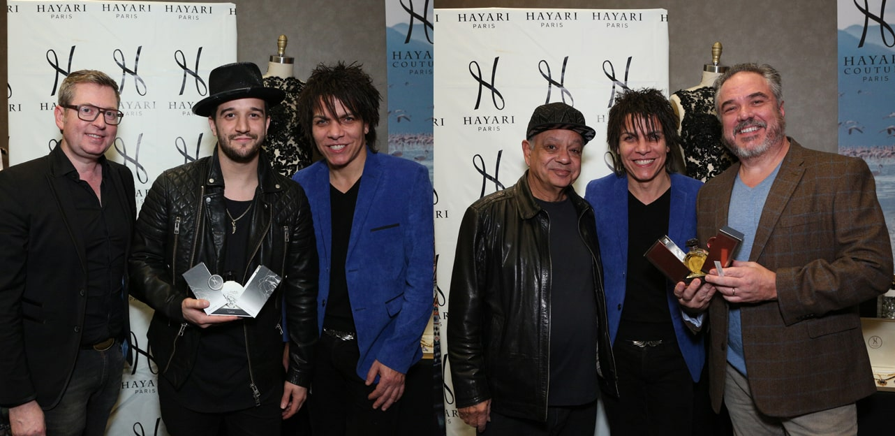 Mark Ballas (left side) and W. Earl Brown (right side) with Nabil Hayari and Cheech Marin (middle)