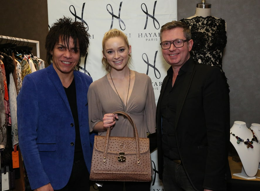 Nabil Hayari, Greer Grammer Miss Golden Globes 2015 and Hugues Alard, CEO of Hayari Paris