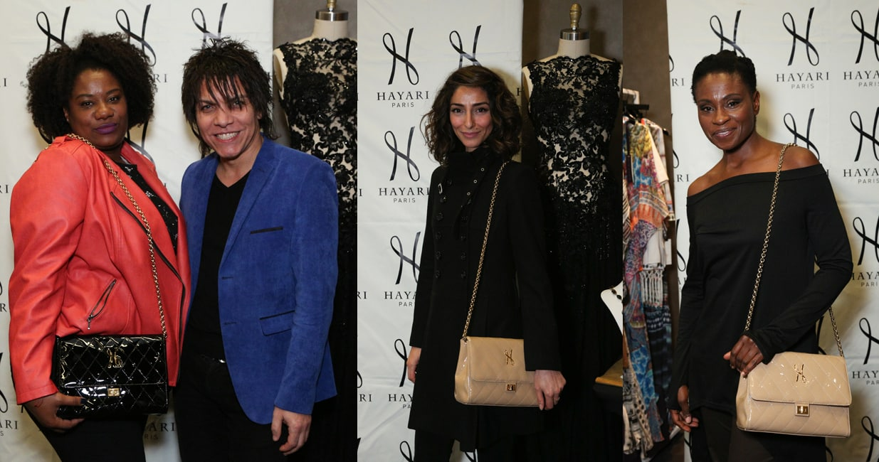 Adrianne C. Moore of the series « Orange is the New Black » with Nabil Hayari, Necar Zadegan of « Girlfriend's Guide to Divorce » and Adina Porter of « The 100 », with the Charlène handbag